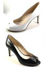 Nine West Gelabelle White Leather Peep Toe Pumps Size 6.5 - $48.30