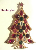 Large Vintage EISENBER ICE Multicolored Christmas Tree Rhinestone Brooch... - $179.95