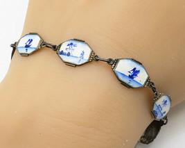 925 Sterling Silver - Vintage Antique Enamel Beach House Tennis Bracelet... - $52.77