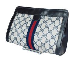 Authentic GUCCI GG Pattern PVC Canvas Leather Navy Blue Clutch Bag GP1895 - $239.00