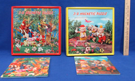 3D Magnetic Tray Puzzles Snow White & 3 Little Pigs Japan Lot Of 2 - $12.22