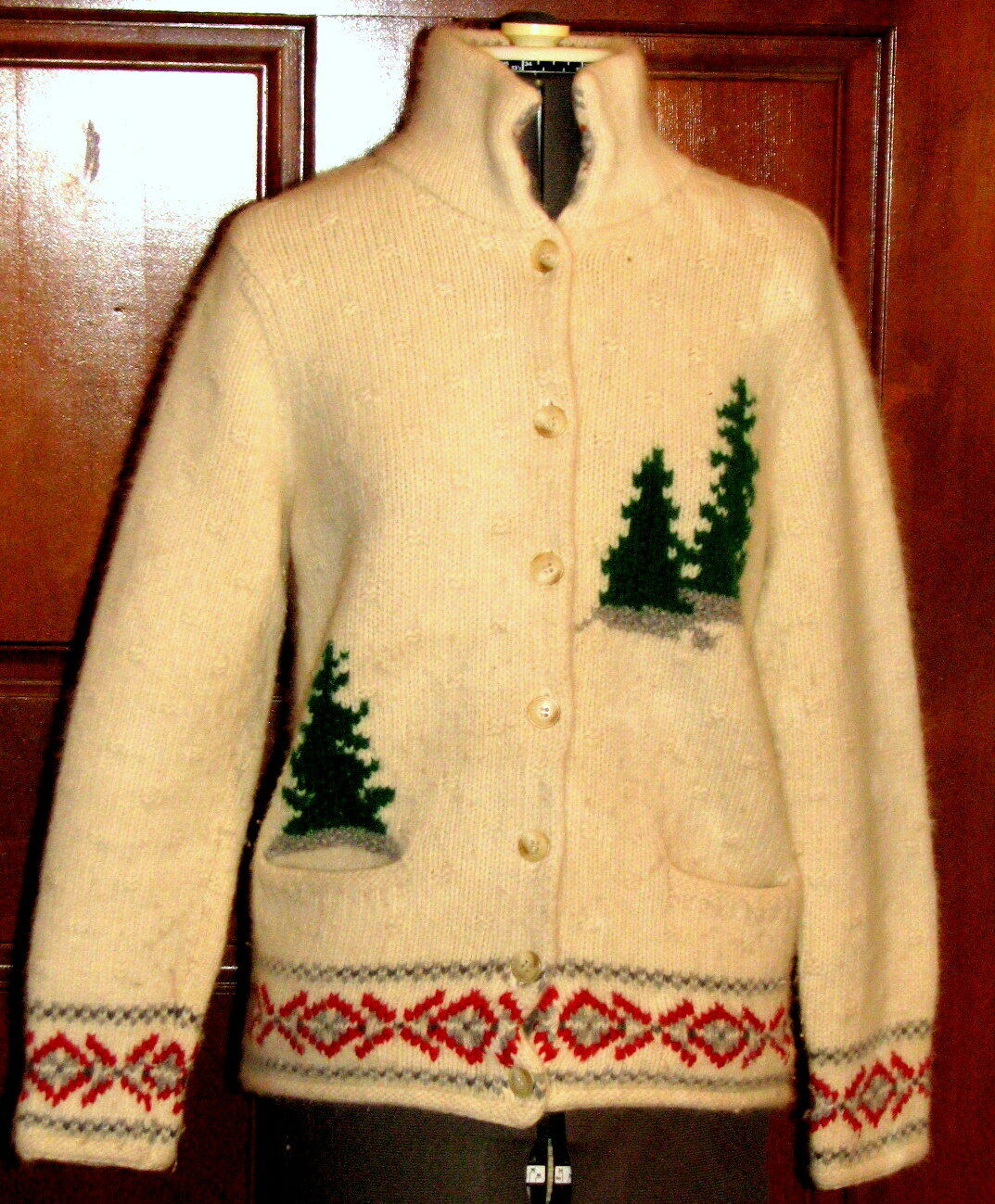 LIZ CLAIBORNE LIZSPORT thick Lambswool/rabbit blend sweater jacket M (T1403A8G)