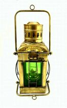 Nautical Marine Green Ship Hanging Oil Lamp~Antique Brass Beach Lantern ... - $95.19