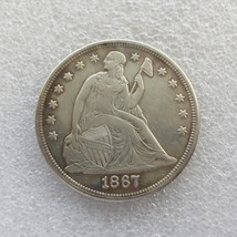 High Grade United States Silver Date 1867 Seated Liberty One Dollar - $59.99