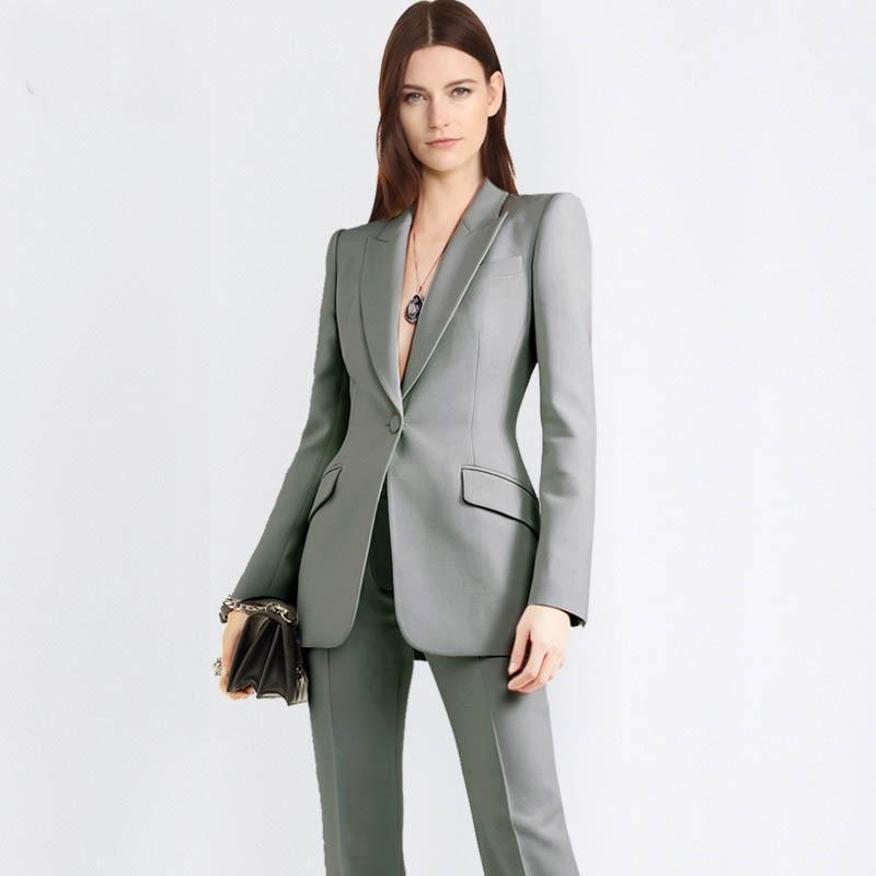 Work pant suits ol 2 piece set for women business interview suit set uniform smil blazer