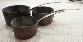 LOT antique EARLY 3pc HANDWROUGHT COPPER PANS heavyweight TIN LINED hear... - $695.00