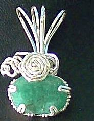 Jewelry By Two Gems (Wp70) Sterling Silver Wire Wrap Faceted Emerald Pendant