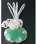 Jewelry By Two Gems (Wp70) Sterling Silver Wire Wrap Faceted Emerald Pen... - $107.00