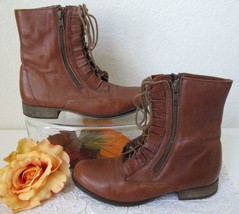 Vintage Betsey Johnson Combat Ankle Boots 7 M Lace Up Ruffle Zip Brown L... - £32.10 GBP