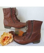 Vintage Betsey Johnson Combat Ankle Boots 7 M Lace Up Ruffle Zip Brown L... - $39.99
