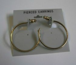 """Vintage nos new old stock 70's gold tone plain smooth hoop earrings 1mmx 1 1/16"""" - $5.00"""