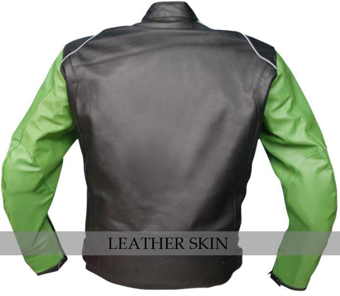 NWT Black with Green Sleeves Motorcycle Biker Racing Premium Genuine Real Leathe image 3