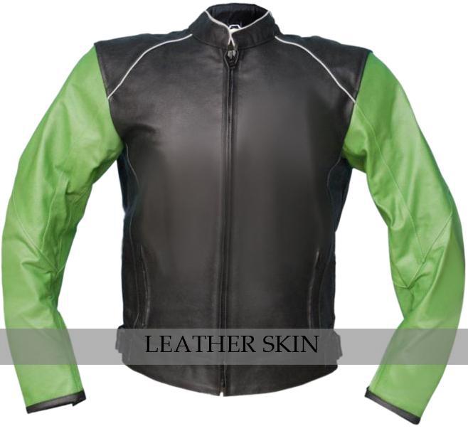 NWT Black with Green Sleeves Motorcycle Biker Racing Premium Genuine Real Leathe
