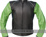 Black with green sleeves leather jacket front thumb155 crop