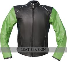 NWT Black with Green Sleeves Motorcycle Biker Racing Premium Genuine Real Leathe image 1