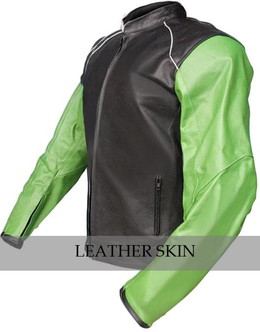 NWT Black with Green Sleeves Motorcycle Biker Racing Premium Genuine Real Leathe image 2