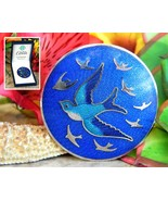 Celtic lands sea gems swallow bird glass enamel round brooch pin boxed thumbtall