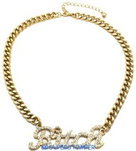 Bitch Necklace New with Crystal Rhinestones Pendant 16 Inch Cuban Link Chain - $24.74