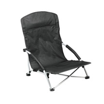 Outdoor Folding Chair with Padded Armrest and Headrest Black Heavy Duty ... - $56.99