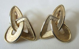 Crown Trifari Space Age Modernistic Mid Century Brush Gold CLIP Earrings... - $19.79