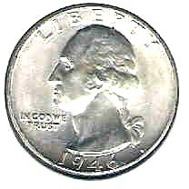 Primary image for Choice Brilliant uncirculated 1946 P Washington Silver Quart