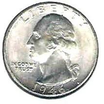Choice Brilliant uncirculated 1946 P Washington Silver Quart - $12.00