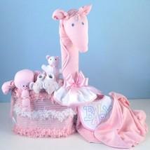 Gentle Giraffe Diaper Cake Baby Girl Gift - $168.00