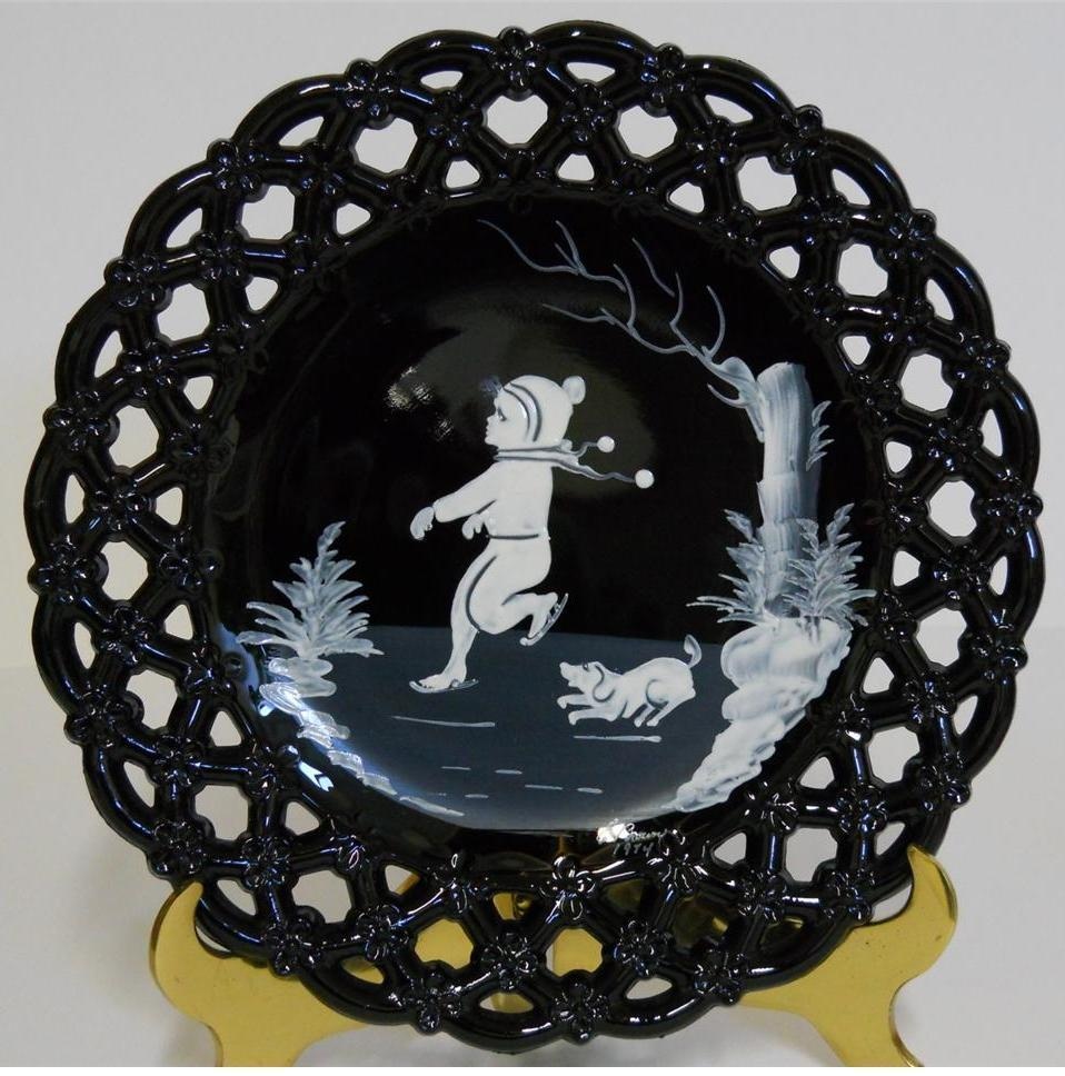 1974 Westmoreland ~ Mary Gregory Laced Edge Black Glass Plate ~ Boy Ice Skating - $44.95