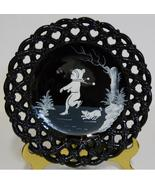 1974 Westmoreland ~ Mary Gregory Laced Edge Black Glass Plate ~ Boy Ice ... - $44.95