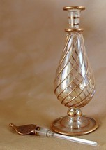 "Egyptian Hand Blown Pyrex Glass 6"" Perfume Bottle Gold Embellishments Eg... - $24.99"
