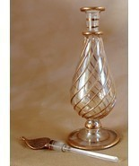 "Egyptian Hand Blown Pyrex Glass 6"" Perfume Bottle Gold Embellishments Eg... - £18.45 GBP"