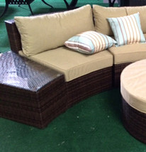 Outdoor Sofa 6 pc Sectional Wicker Brown Las Vegas Patio Furniture And Garden image 2