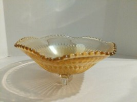 1930's Jeanette ANNIVERSARY Irridescent Marigold Carnival Glass Footed B... - $16.78