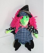 "Halloween TY Beanie Babies SCARY WITCH 11"" Plush Star Cape Pink Hair Gre... - $11.62"