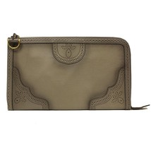 GUCCI Grey Duilio Brogue Zip Over-sized Leather Clutch Handbag Bag - $1,185.85 CAD