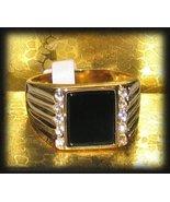 Men's Black Onyx & Clear CZ Ring Yellow Gold New - $19.99