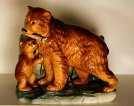 Figural Bear & Cub w/Salmon Planter Inarco Japa... - $7.19