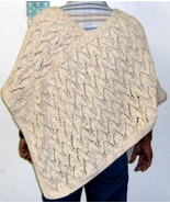 hand knitted arrow head designed poncho in 100%... - $55.00