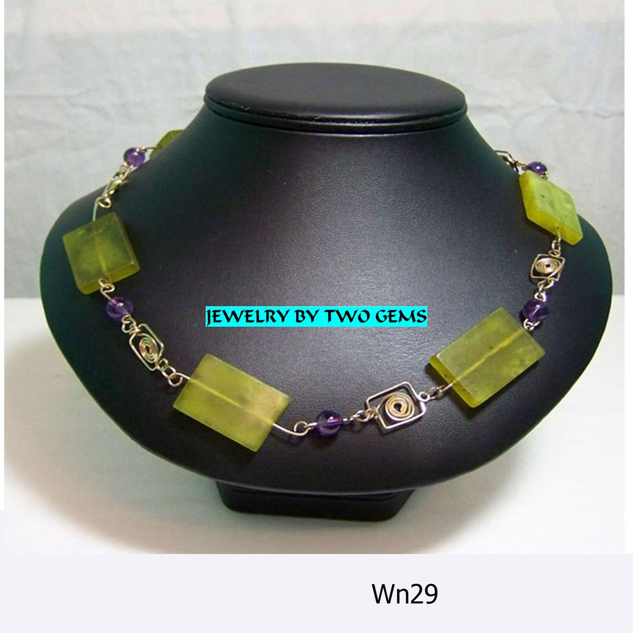 Jewelry By Two Gems (Wn29) 14Kt GF Wire Wrap Necklace w Jade