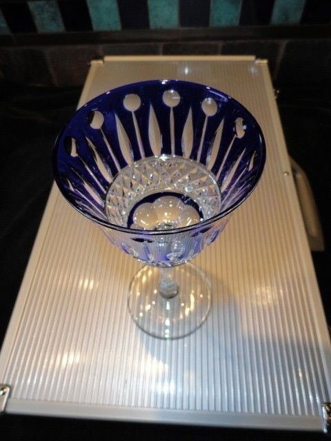 Faberge Xenia Cobalt Blue Crystal Wine Glass without box image 3