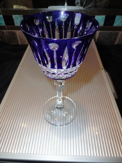 Faberge Xenia Cobalt Blue Crystal Wine Glass without box image 2