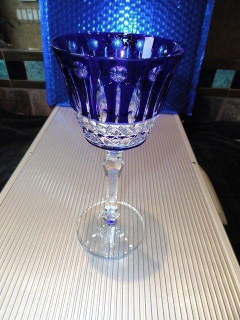 Faberge Xenia Cobalt Blue Crystal Wine Glass without box
