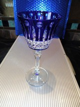Faberge Xenia Cobalt Blue Crystal Wine Glass without box image 1
