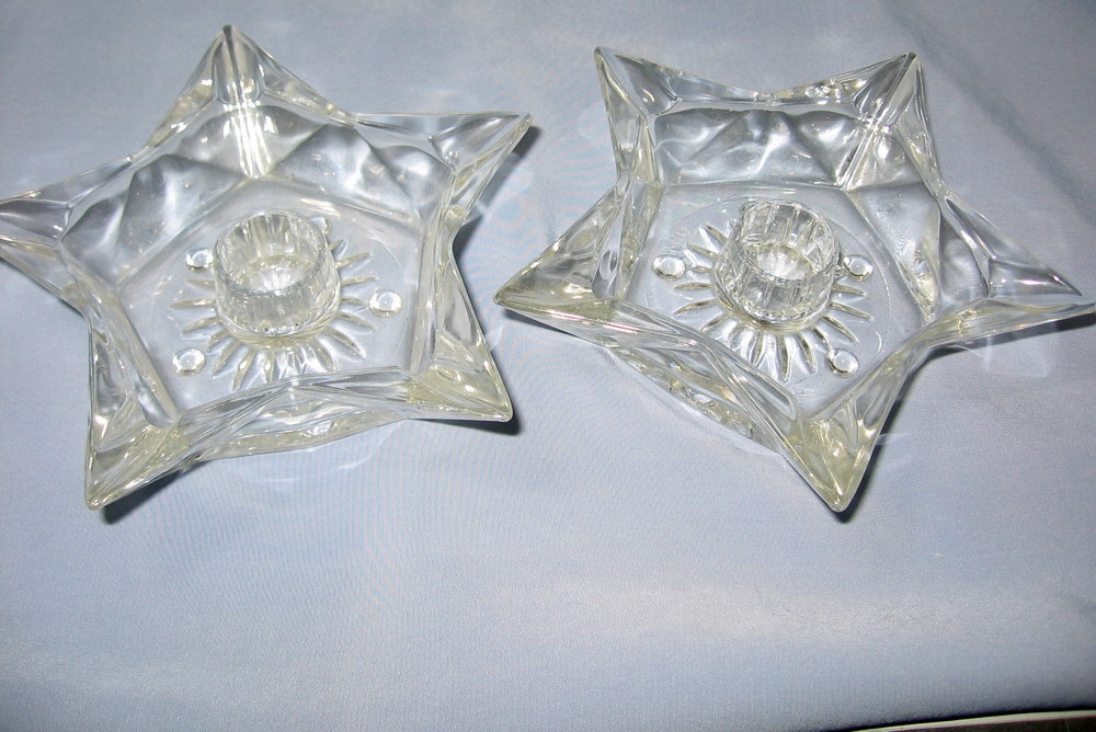 Candle Holders Star-Shape Glass for Tapers