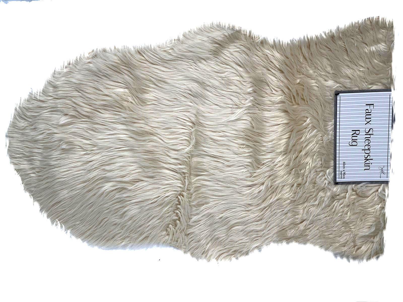 CREAM Luxury Sheepskin Fluffy Rug Soft Faux Fur Shaggy Area Rugs Room Wool Mat