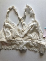 New! Candie's EYELASH Lace JUNIORS BRA L OFF WHITE $24 PULLOVER RACER BA... - $10.33