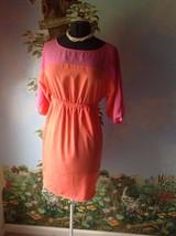 Attention Women Pink Cold Shoulder Sleeve Casual Elastic Waist Dress Siz... - $18.81