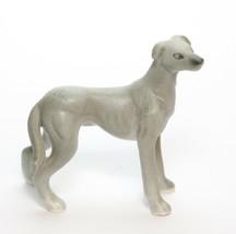 Greyhound Dog Grey Small Figurine Ceramic Vintage  - $4.46