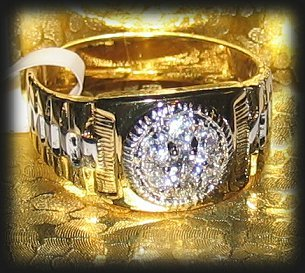 Primary image for Men's Sparkling CZs Ring Yellow & White Gold Size 12 New