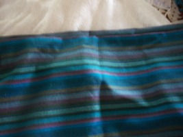 Vintage Turquoise, Blue, Green, Pink, Gray & Gold Striped Fabric Yardage - $15.00